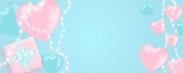 Banner di san valentino con ghirlanda di luci brillanti, lampadine, cuori. Vettore Premium