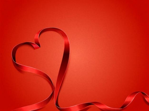 Concetto di san valentino, nastro a forma di cuore su sfondo rosso Vettore Premium