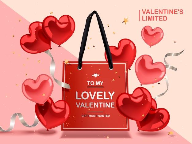 Concetto di san valentino, palloncini cuore rosso e nastri d'argento con sacchetto di carta rosso Vettore Premium