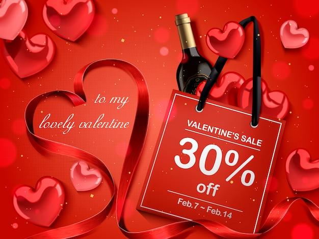 Concetto di san valentino, sacchetto di carta rosso con bottiglia di vino e decorazioni a forma di cuore Vettore Premium