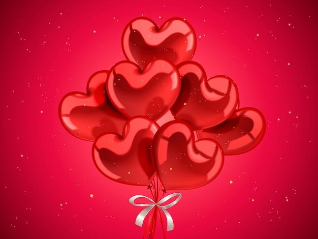 Elementi di san valentino, palloncini a forma di cuore per la celebrazione con particelle d'oro nell'illustrazione 3d Vettore Premium