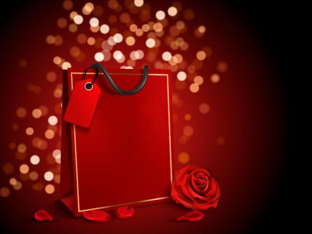 Elementi di san valentino, sacchetto di carta rosso con etichetta e rose Vettore Premium