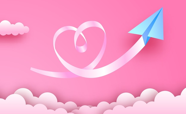 Cartolina d'auguri di san valentino e concetto di amore. stile di arte di carta con aeroplano di carta origami blu con nuvole e amore come il modo di carta di forma sullo sfondo del cielo rosa Vettore Premium