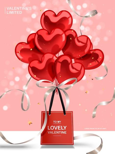 Biglietto di auguri di san valentino, palloncini cuore rosso e nastri d'argento con sacchetto di carta rossa Vettore Premium