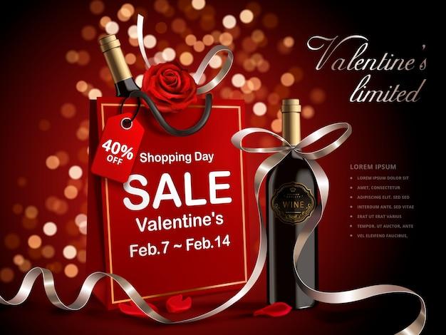 Banner di vendita di san valentino, bottiglia di vino con nastri in sacchetto di carta rosso isolato Vettore Premium