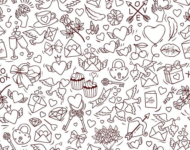 Modello senza cuciture di san valentino. molti elementi simpatico cartone animato su sfondo bianco. Vettore Premium