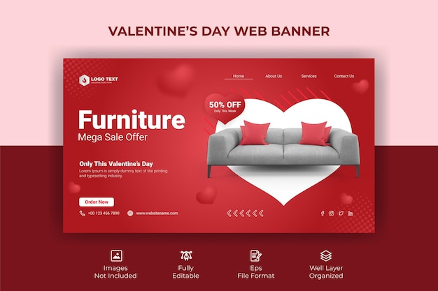 Modello di banner web di san valentino Vettore Premium
