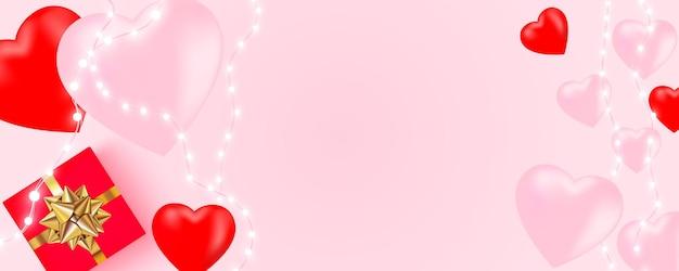 San valentino con ghirlanda di luci brillanti, lampadine, cuori, confezione regalo in rosa. Vettore Premium