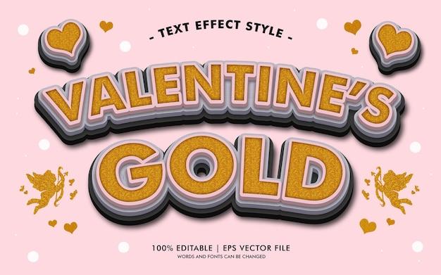 Stile degli effetti del testo in oro del san valentino Vettore Premium