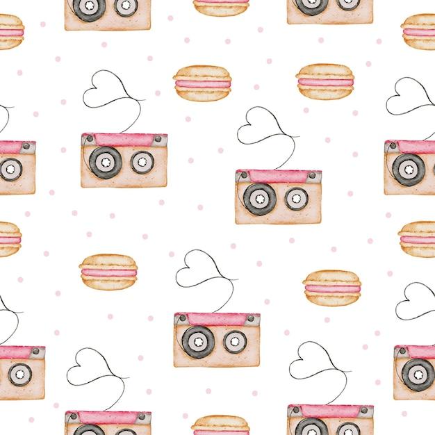 San valentino seamless pattern acquerello Vettore Premium