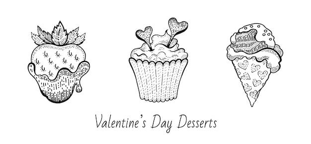 Insieme di cibo dessert schizzo di san valentino. Vettore Premium