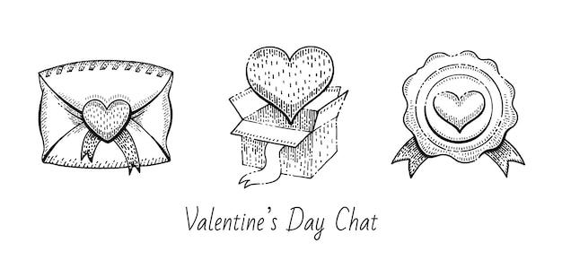 Insieme di abbozzo di san valentino. icone di doodle vintage. Vettore Premium