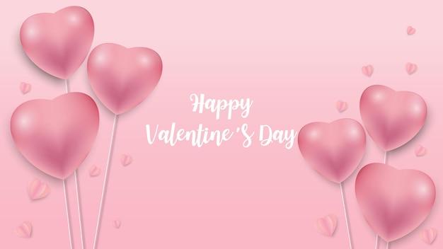 Fondo di giorno di biglietti di s. valentino con il modello dell'icona dei cuori. cuori di san valentino su sfondo rosa galleggiante con auguri di san valentino felice. illustrazione di vettore Vettore Premium