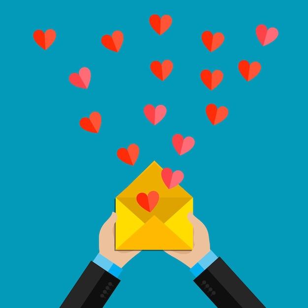 Illustrazione di san valentino. ricezione o invio di e-mail e sms d'amore per san valentino, relazione a distanza. Vettore Premium