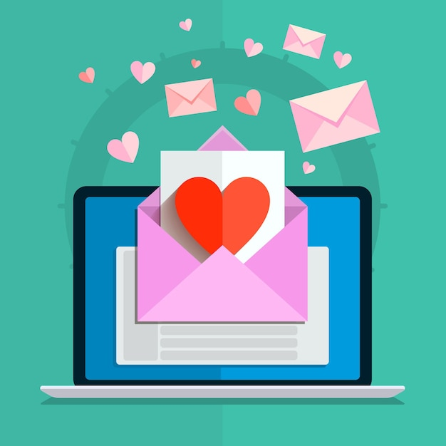 Illustrazione di san valentino. ricevere o inviare e-mail d'amore per san valentino, relazione a distanza. design piatto, illustrazione vettoriale Vettore Premium