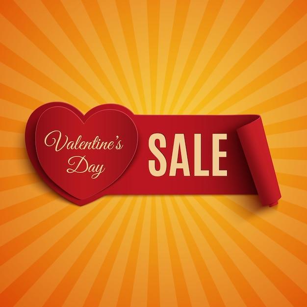 Banner di vendita di san valentino, su sfondo arancione raggi di luce. Vettore Premium