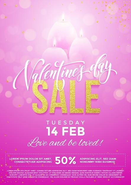 Manifesto di vendita di san valentino di cuori rosa e candele su sfondo di luci scintillanti glitter premium Vettore Premium