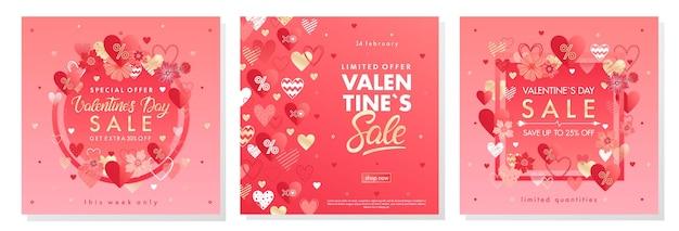 Banner di offerta speciale di san valentino con cuori diversi ed elementi in lamina d'oro. Vettore Premium