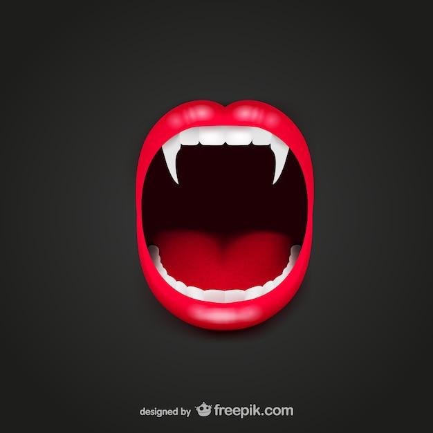 Vampiro bocca vettore Vettore Premium