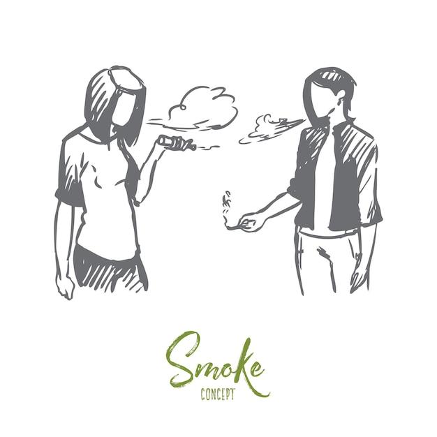 Vape, sigaretta elettronica, ragazza, concetto di fumo. schizzo di concetto di immagine di vaping di ragazze adolescenti disegnate a mano. Vettore Premium