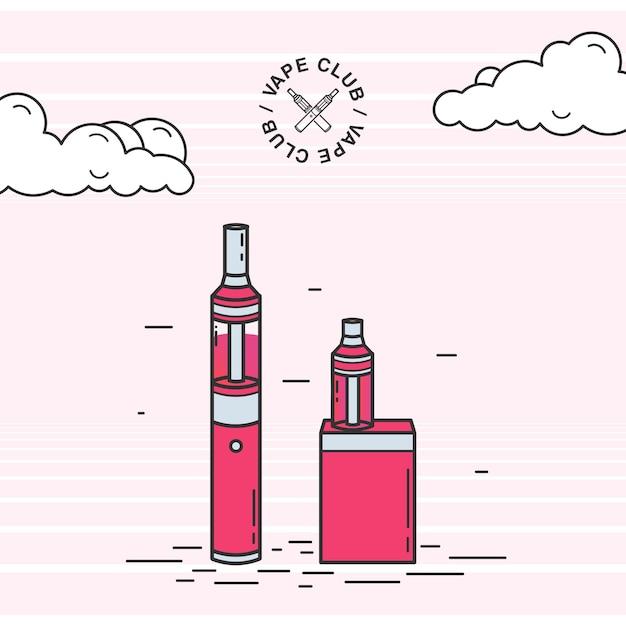 Set di dispositivi per fumatori vape Vettore Premium