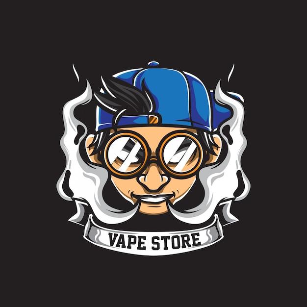 Vape store logo vettoriale Vettore Premium