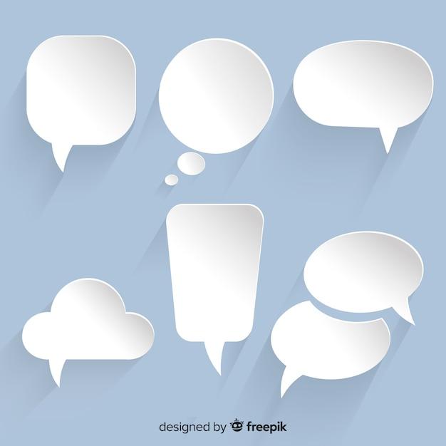 Varietà di raccolta di bolle di chat nel design di carta Vettore Premium
