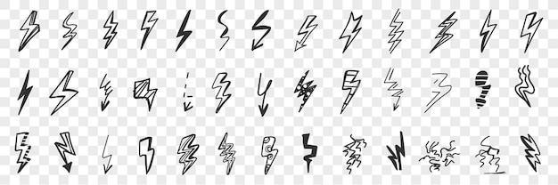 Varie frecce e indicatori di pericolo doodle insieme. Vettore Premium