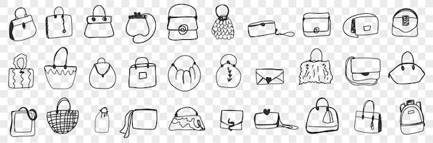 Insieme di doodle di vari sacchetti femminili. collezione di cesti di borse disegnate a mano e pochette di diversi stili e forme isolate. Vettore Premium