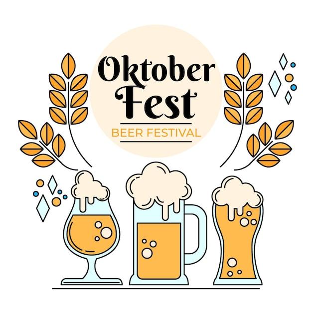 Vari bicchieri pieni di birra più oktoberfest Vettore Premium