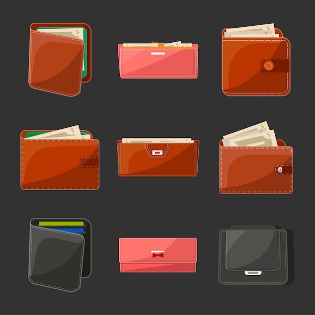 Set di varie borse e portafogli in pelle Vettore Premium