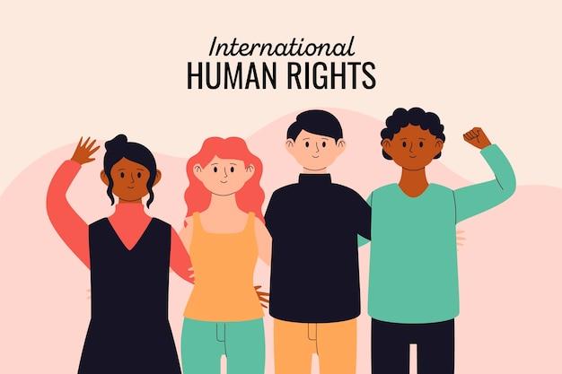 Diverse persone che tengono insieme i diritti umani Vettore Premium
