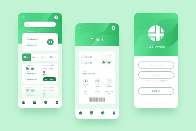 Vari schermi per l'app mobile per il trasporto pubblico verde Vettore Premium