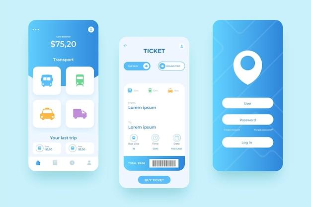 Vari schermi per l'app per smartphone dei trasporti pubblici Vettore Premium
