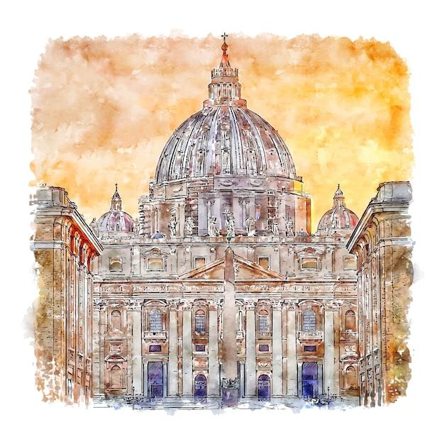 Città del vaticano roma italia acquerello schizzo disegnato a mano illustrazione Vettore Premium