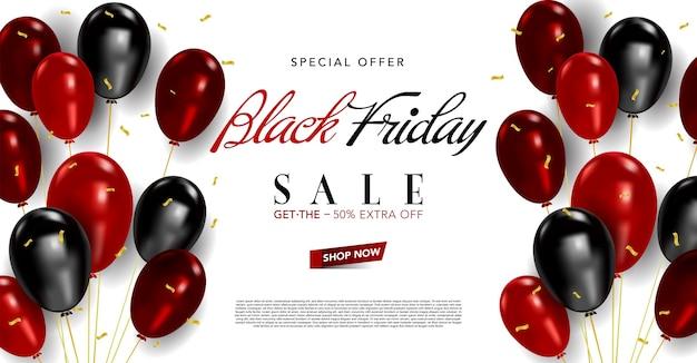 Modello di banner vettoriale venerdì nero con palloncini e coriandoli, poster venerdì nero Vettore Premium