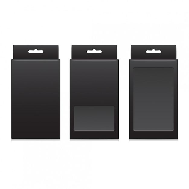 Pacchetto vector nero per software, dispositivo elettronico e altri prodotti Vettore Premium