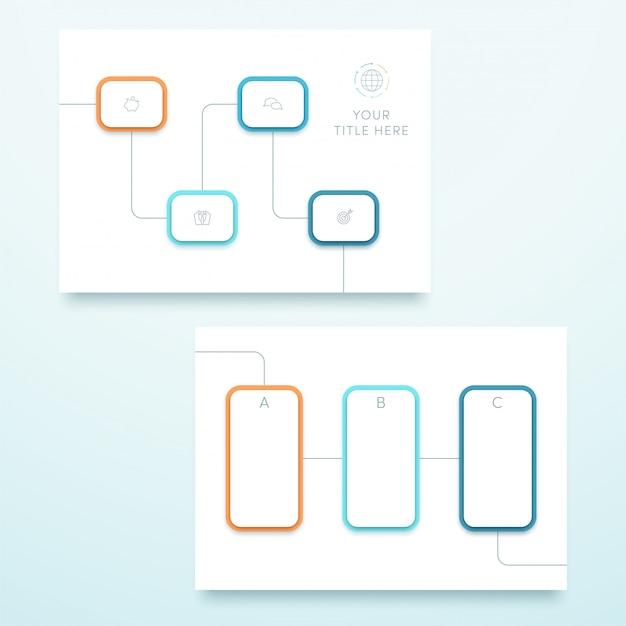 Vector blue square 3d landscape page template Vettore Premium