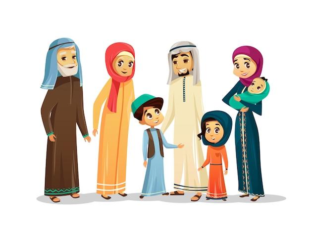 Insieme di caratteri della famiglia araba del fumetto di vettore Vettore Premium