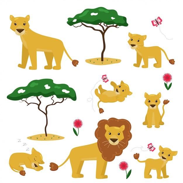 Illustrazione del fumetto di vettore della raccolta della famiglia del leone. Vettore Premium