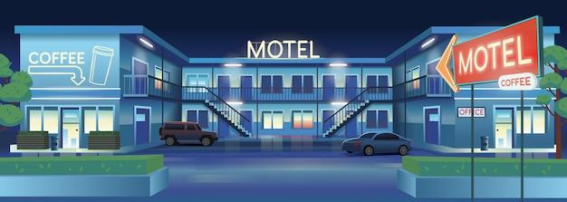 Illustrazione del fumetto di vettore del motel notturno con auto e bar. Vettore Premium