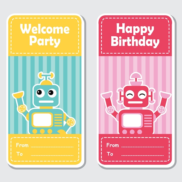 Illustrazione di cartone animato vettoriale con carino blu e rosso robot su sfondo a righe adatto per design di etichetta compleanno, banner set e invito carta Vettore Premium
