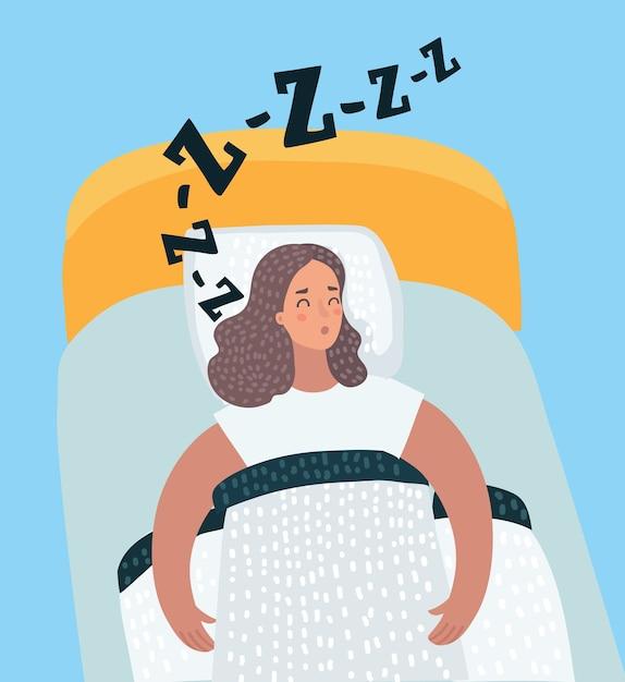 Illustrazione del fumetto di vettore della donna che dorme la notte nel suo letto Vettore Premium