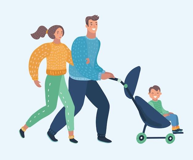 Vector cartoon illustration giovane madre e padre e carrozzina Vettore Premium