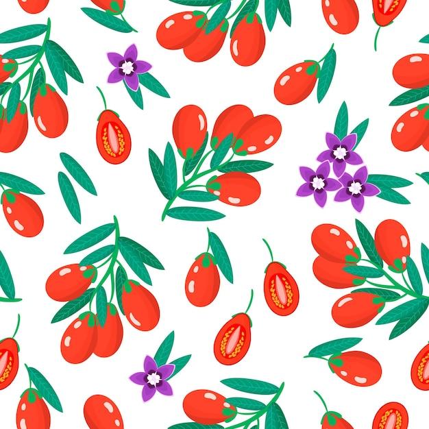 Vector cartoon seamless pattern con lycium barbarum o goji frutta esotica, fiori e foglie Vettore Premium