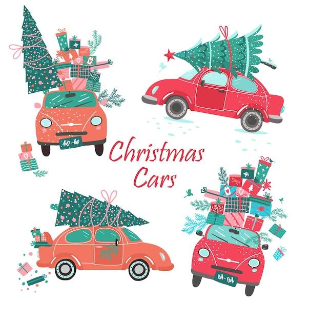 Vector automobili di natale con albero e regali. Vettore Premium