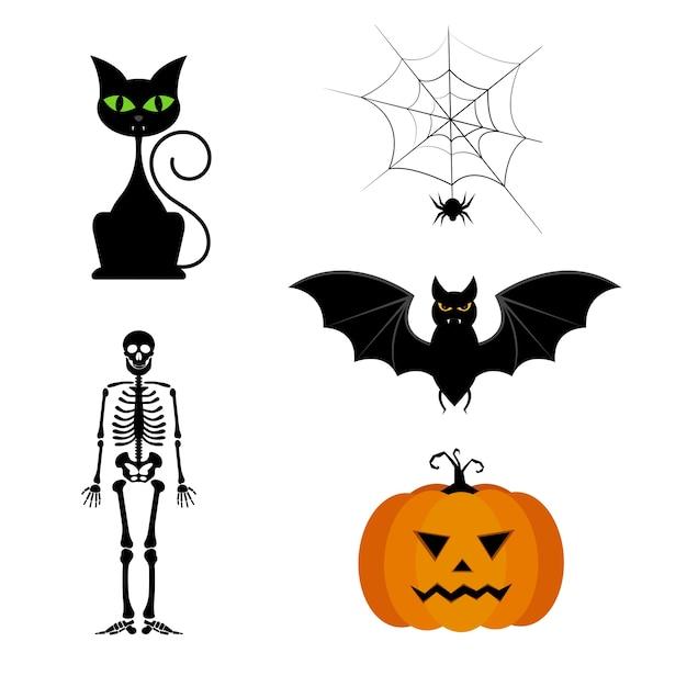 Collezione vettoriale di diverse sagome di halloween nere carino. Vettore Premium
