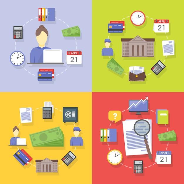 Accumulazione di vettore dei concetti di affari e finanza piatti e colorati. elementi di design per applicazioni web e mobile. Vettore Premium