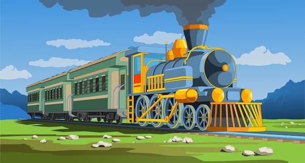 Pagina coloful di vettore con treno modello 3d e paesaggio luminoso. bella illustrazione vettoriale con viaggi in treno. vettore grafico del treno retrò vintage. Vettore Premium