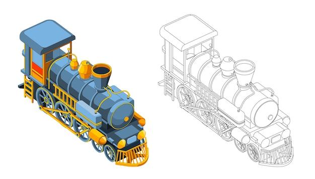 Pagina da colorare di vettore con treno modello 3d. vista frontale isometrica grafica vettoriale vintage treno retrò. isolato. pagina da colorare e treno colorato. Vettore Premium